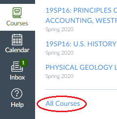 link to list of courses