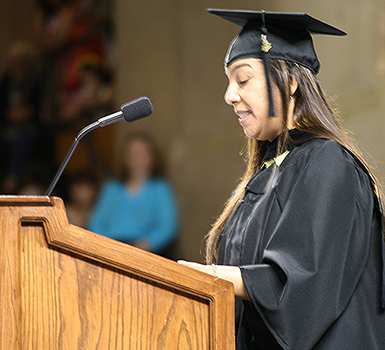 Student speaking at the MC graduation ceremony