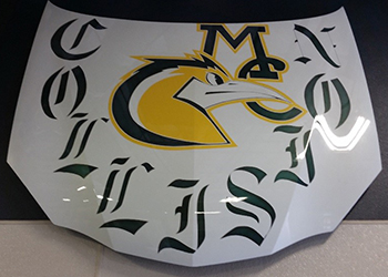 Collision Repair logo, painted on hood by students