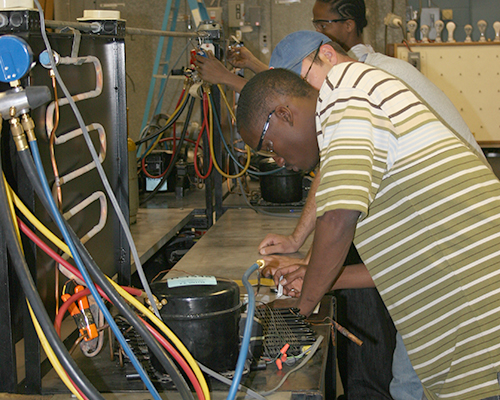 Student working in HVAC lab
