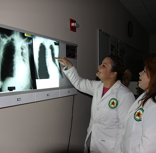 Two respiratory care students reviewing an x-ray