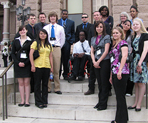 MC Government Students standing on the steps of the State Capitol in Austin, Texas