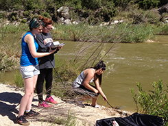Three students gathering water samples from a river