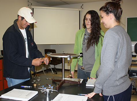 Physics students in lab experiment