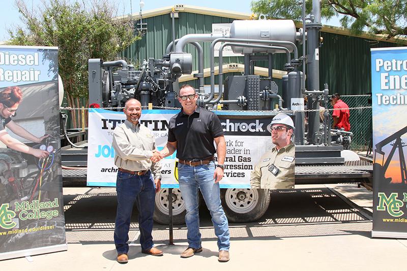 Gas compressor with Pete Avalos and Archrock representative