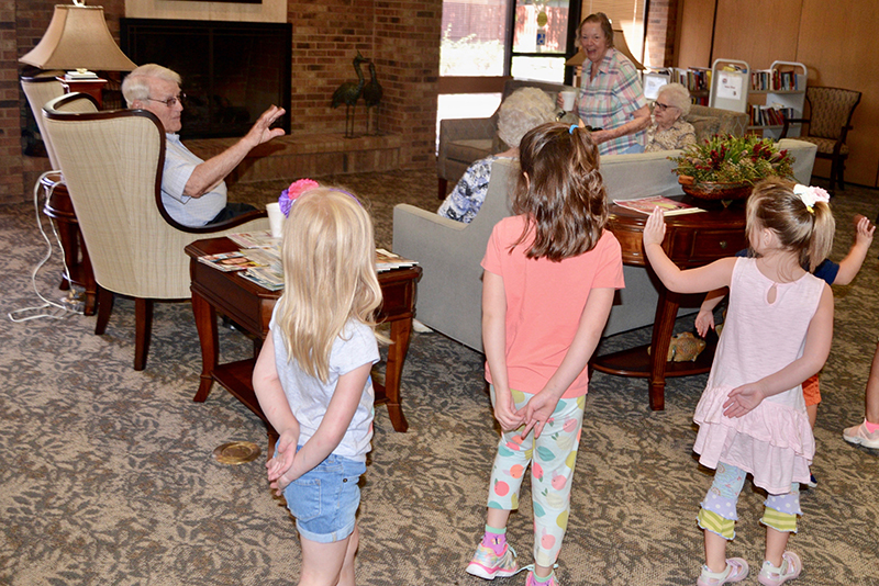 sChildren and residents interact at Manor Park