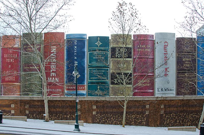 sPhoto of classic novels on shelf.