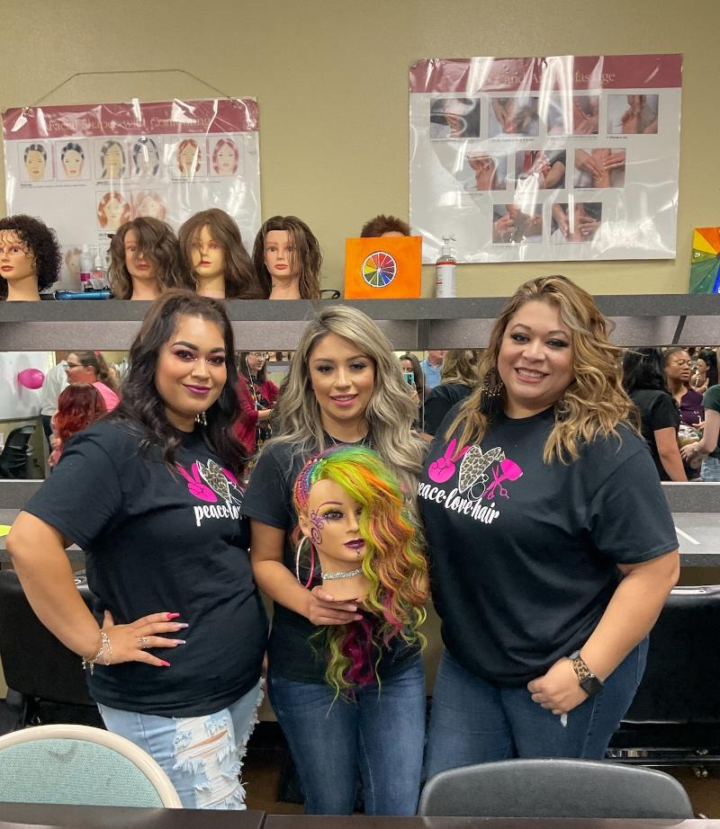 s(Left to Right) MC Cosmetology students Adilene Hernandez, Mariana Aguilar and Irene Frost