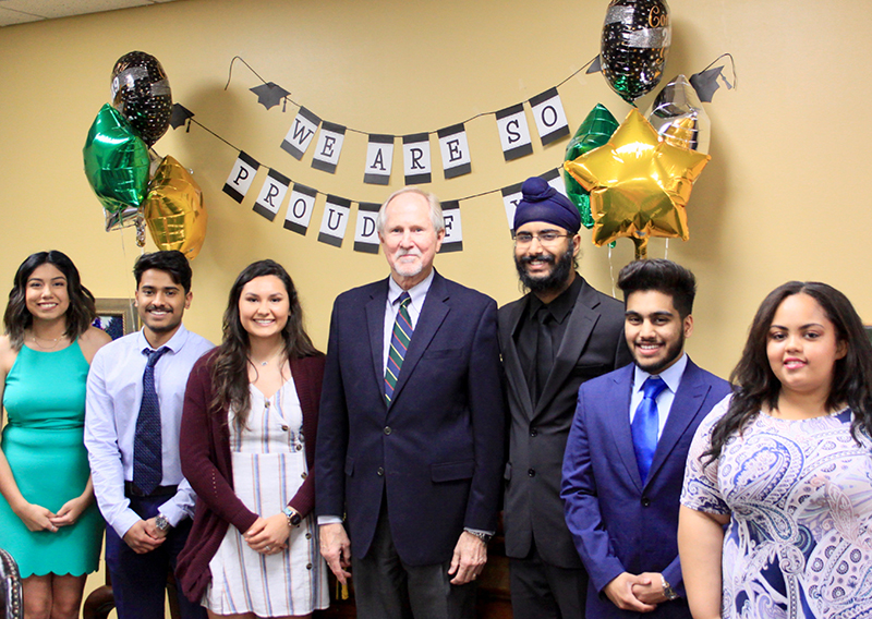 s2019 Midland College Primary Care Pathway graduates with Midland College President Dr. Steve Thomas. Pictured from left to right are Mariah Herrera, Salman Mohiuddin, Natalie Adams, Dr. Steve Thomas, Manin Sehgal, Affan Ahmed and Lydia Padilla.
