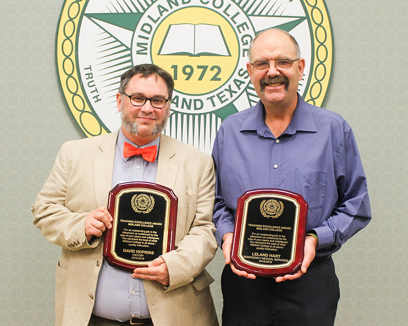 sDr. David Hopkins and Leland Hart, winners of the Midland College 2019 Teaching Excellence Award