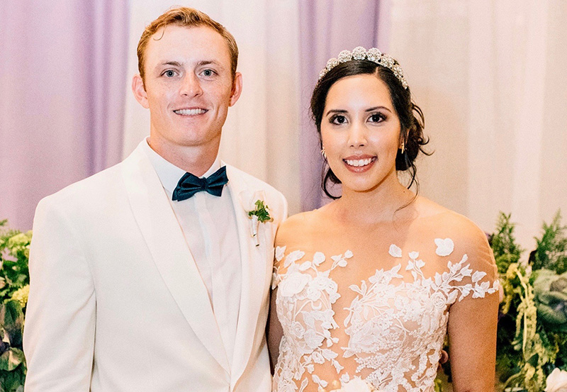 sJanet Moreno Farmer and her husband former MC golfer Richie Farmer on their wedding day.  The couple met at Midland College.
